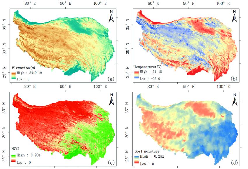 Tibetan Plateau Elevation, Temperature, Soil, Vegetation (NVDI)
