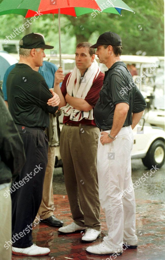 August 27, 1999. Evelyn Rothschild, Prince Andrew and President Bill Clinton at Martha's Vineyard.