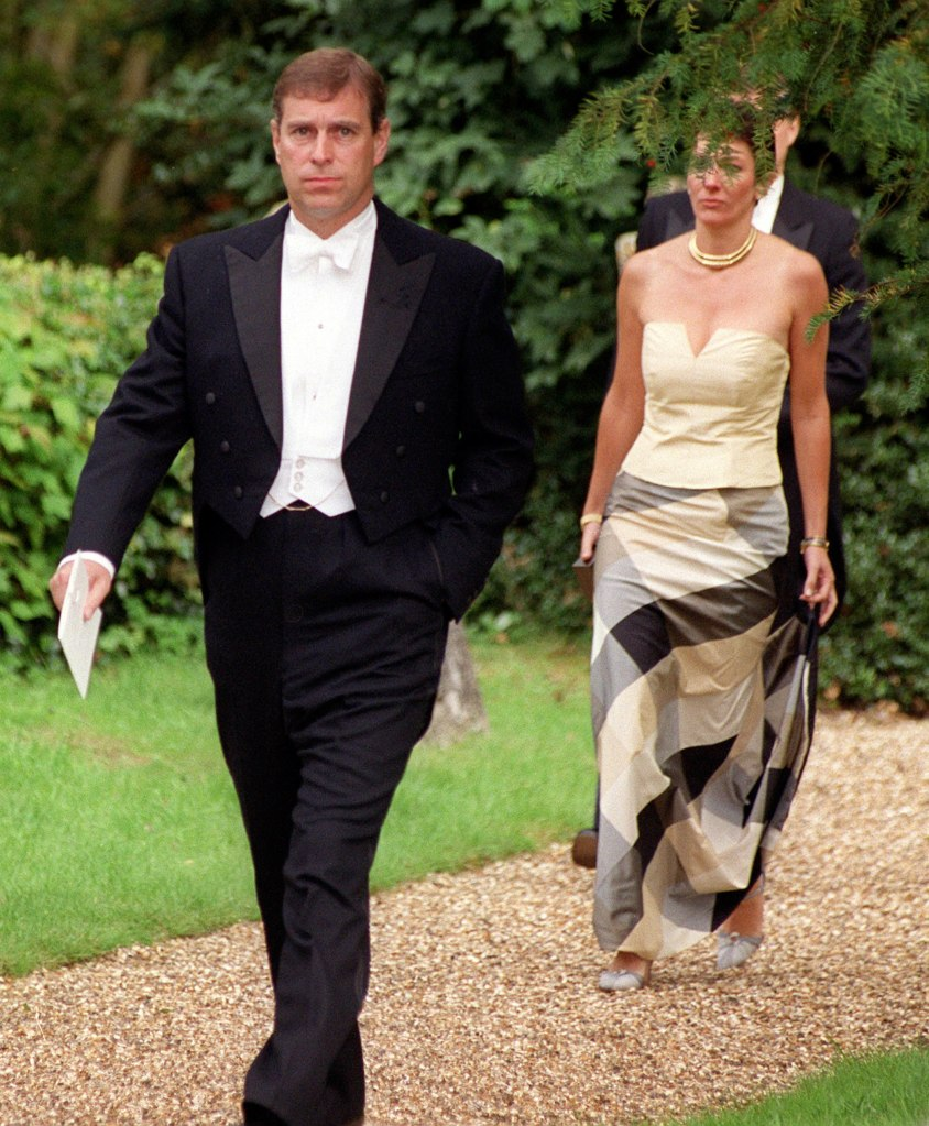 September 2, 2000.  Ghislaine Maxwell and Prince Andrew attend wedding of Aurelia Cecil and Rupert Stephenson