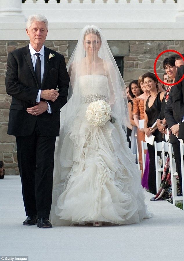 Ghilsaine Maxwell at Chelsea Clinton wedding with Bill Clinton July 31, 2010
