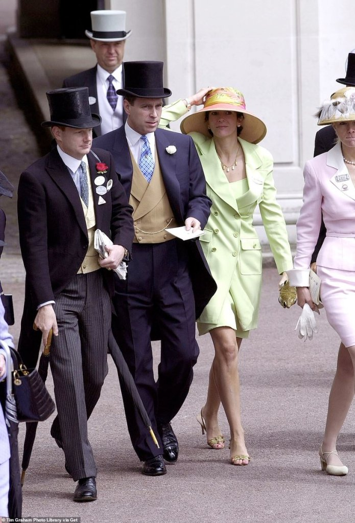 June 26, 2000.  Prince Andrew and Ghislaine Maxwell at Ascot races.