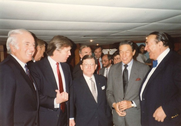 Donald Trump, Dan Rather, Robert Maxwell and John Tower on Lady Ghislaine yacht May 17, 1989