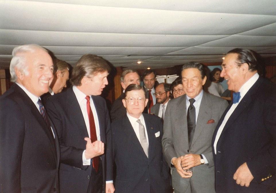 Donald Trump, Robert Maxwell, John Tower on the Lady Ghislaine yacht May 17, 1989