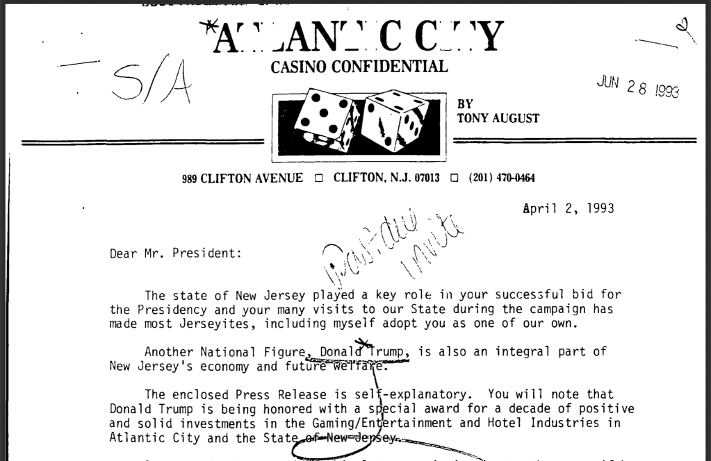 April 2, 1993.  Tony August requests introduction of Donald Trump to Bill Clinton in a letter.