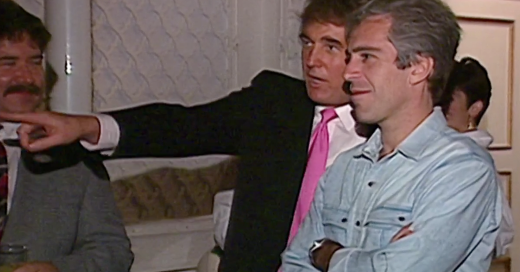 November 1992.  Donald Trump, Jeffrey Epstein, Ghislaine Maxwell at a party in Maralago