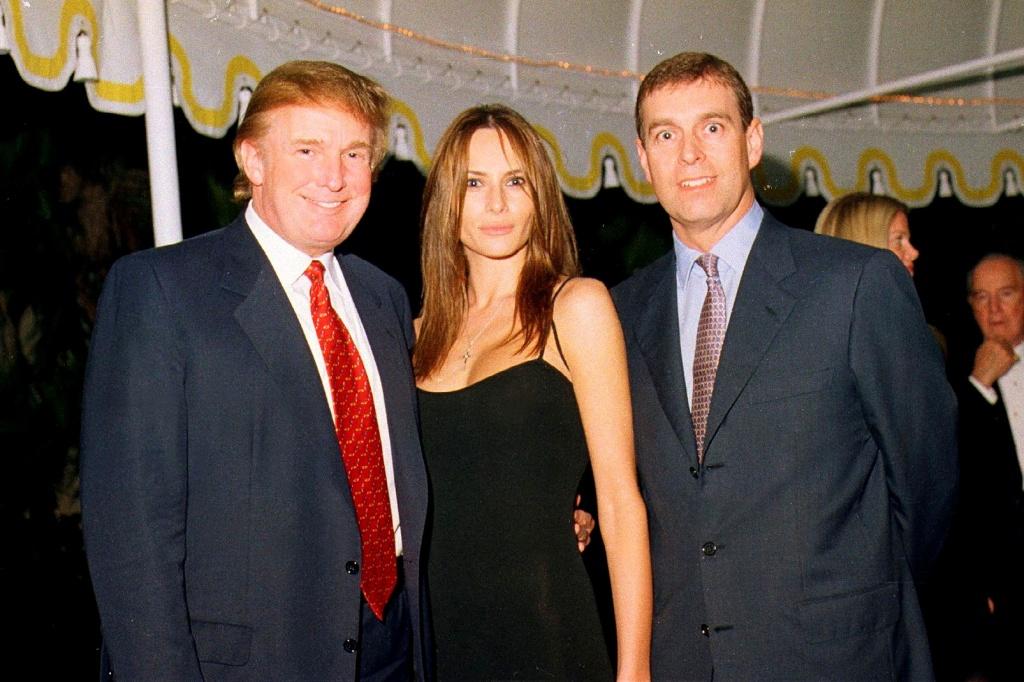 February 12, 2000.  Donald Trump, Melania Trump, and Prince Andrew at Maralago party.