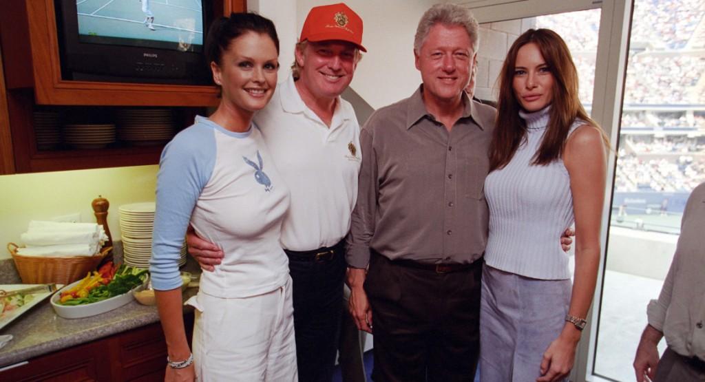 September 8, 2000. Kylie Bax, Donald Trump, Bill Clinton and Melania Trump at US Open.