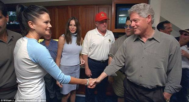 September 8, 2000.  Donald Trump introduces Kylie Bax to Bill Clinton at the US Open.  Melania Trump also pictured.