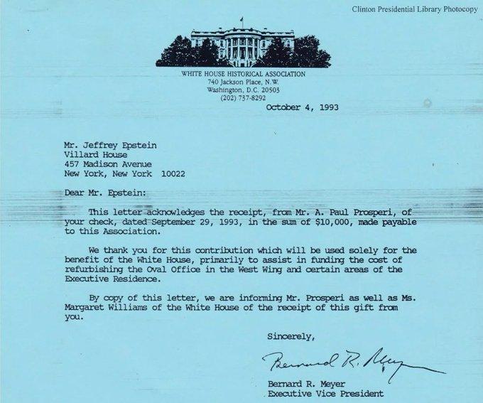 October 4, 1993.  Jeffrey Epstein donates $10,000 to the White House association