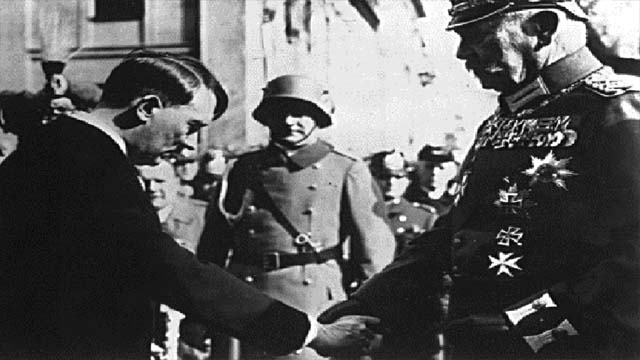 January 30, 1933 Adolph Hitler bows to Kaiser Wilhelm and becomes Chancellor of Germany