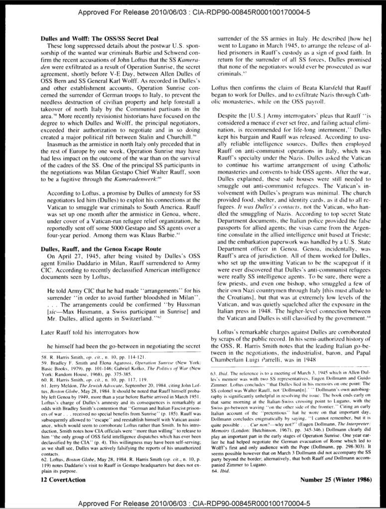 Operation Sunrise Allen Dulles Vatican Nazis Red Cross 1945