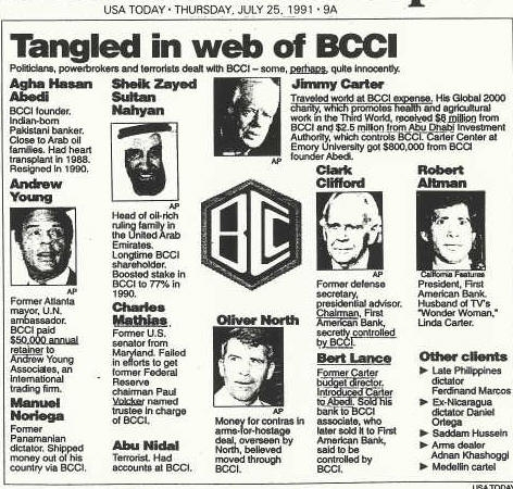 July 25, 1991 press clipping of players in BCCI scandal.  Andrew Young, Jimmy Carter, Oliver North, Clark Clifford, Robert Altman, Charles Mathis, Manuel Noriega, Sheik Zayed Sultan Nahyan