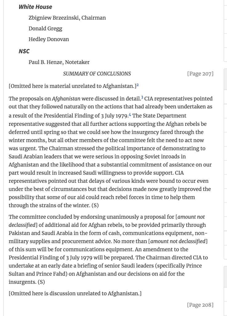 Zbigniew Brzezinski presses for funding of Mujahideen