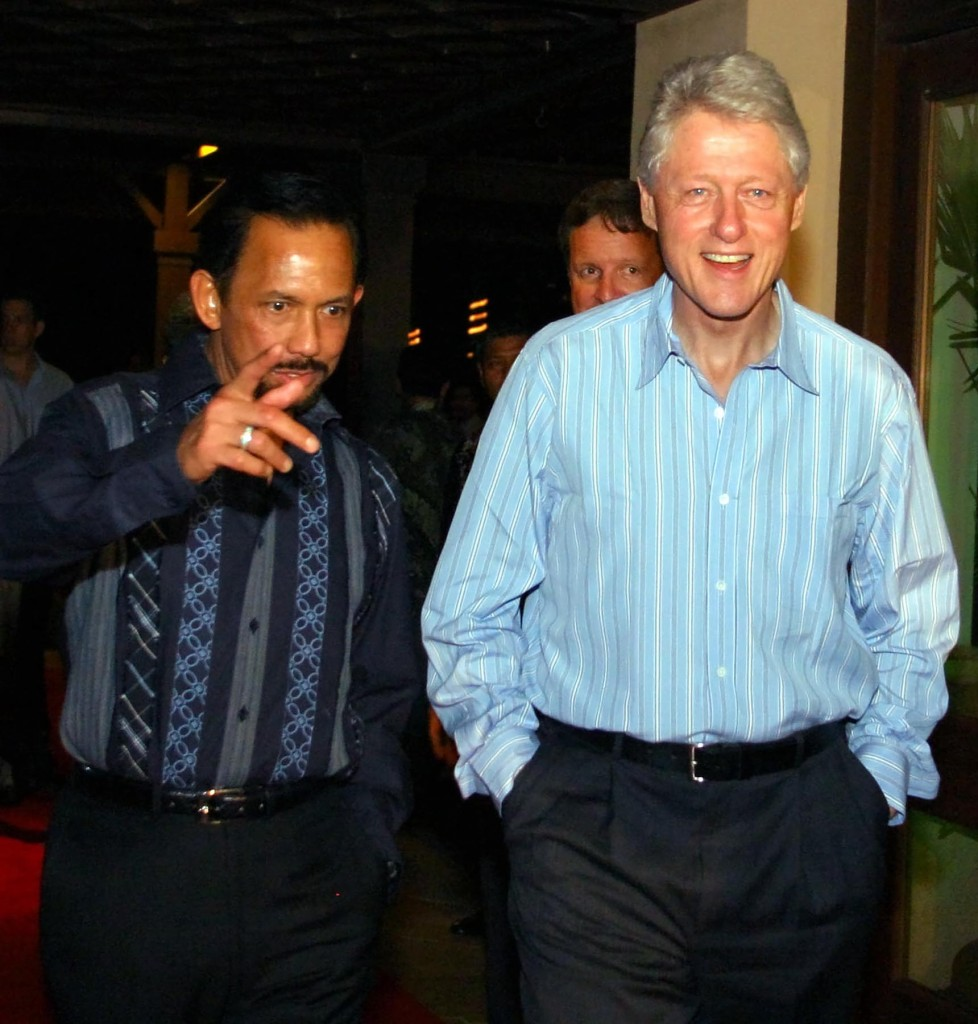 May 22, 2002.  President Clinton and rapist Sultan of Brunei in Brunei
