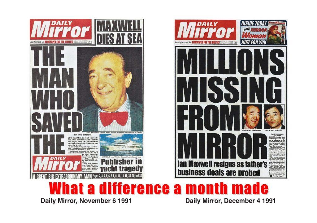 Robert Maxwell death Daily Mirror November 5, 1991 Pension fund