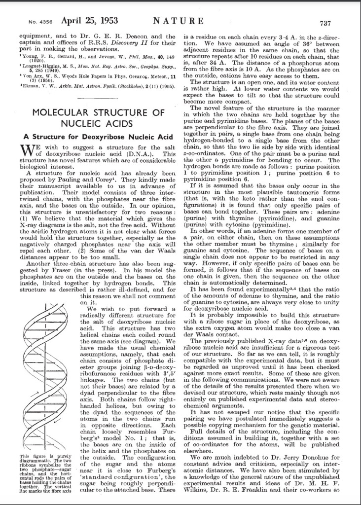 James Watson Molecular Structure of Nucleic Acids, A Structure for Deoxyribose Nucleic Acid (D.N.A.) April 25, 1953