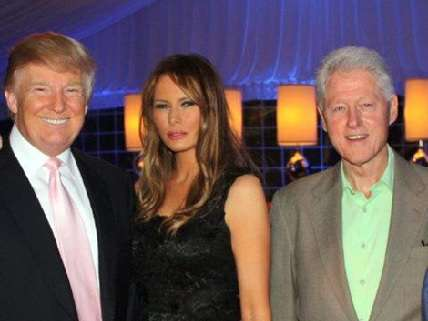 December 19, 2012.  Donald Trump, Melania Trump, and Bill Clinton at Miss Universe in Las Vegas