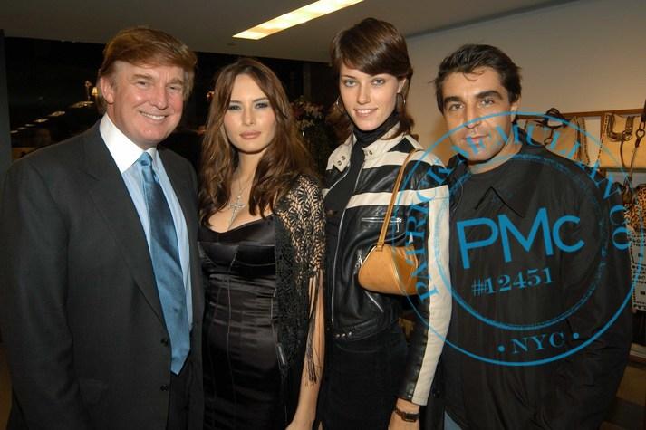 November 11, 2002  Donald Trump, Melania Trump, Paolo Zampolli at store opening New York