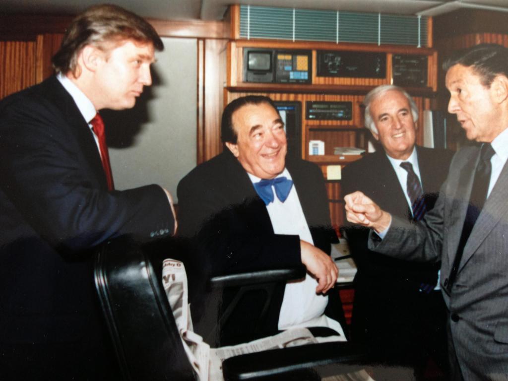 Donald Trump, Dan Rather, Robert Maxwell on Lady Ghislaine yacht May 17, 1989