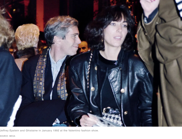 January 1, 1992.  Ghislaine Maxwell and Jeffrey Epstein attend Valentino fashion show in Paris, France.