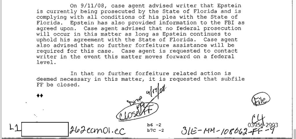 September 11, 2008.  FBI closes file on Jeffrey Epstein.