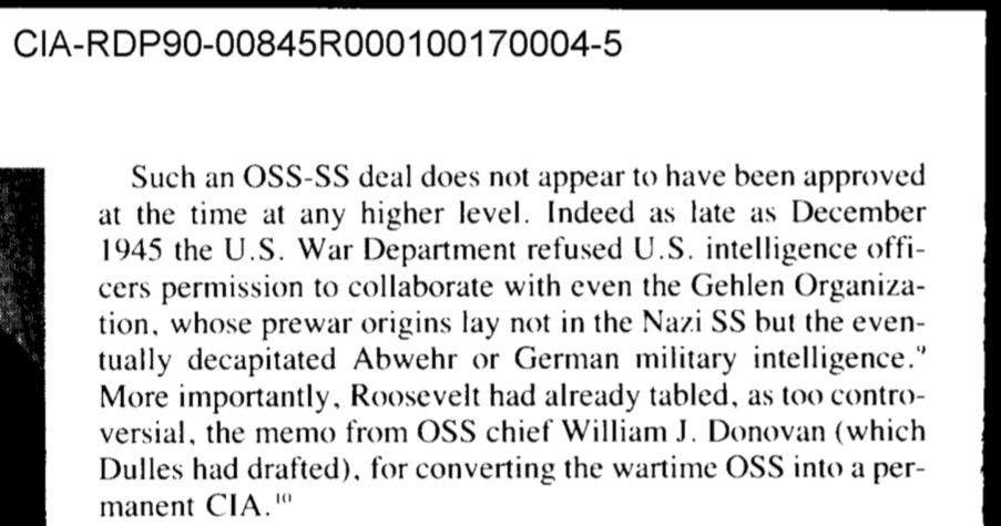 April 12, 1945.  FDR denies Allen Dulles OSS request to form CIA
