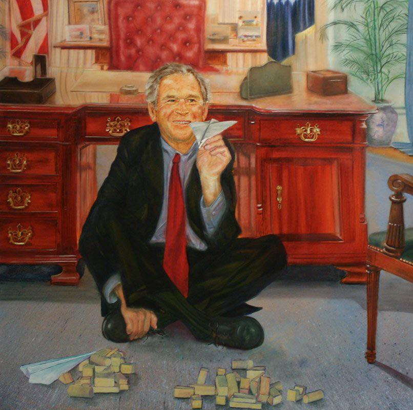 December 2012.  Jeff Epstein commissions painting of George Bush playing with two paper airplanes and two collapsed toy buildings representing September 11, 2001