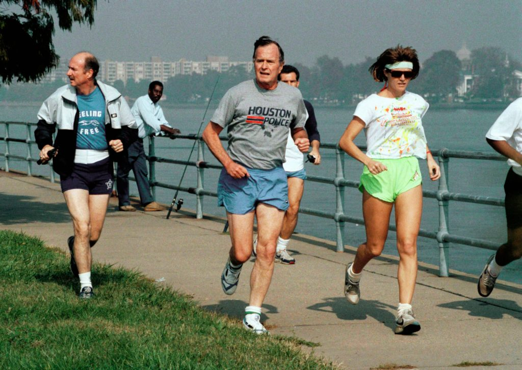 October 30, 1989.  George Bush jogs with Adnan Khashoggi at American University.
