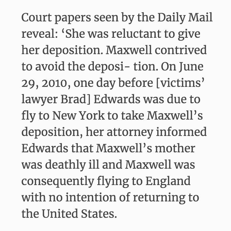 June 29, 2010.  Ghislaine Maxwell informs Bradley Edwards that her mother is ill; she is leaving the United States and does not intend to return.