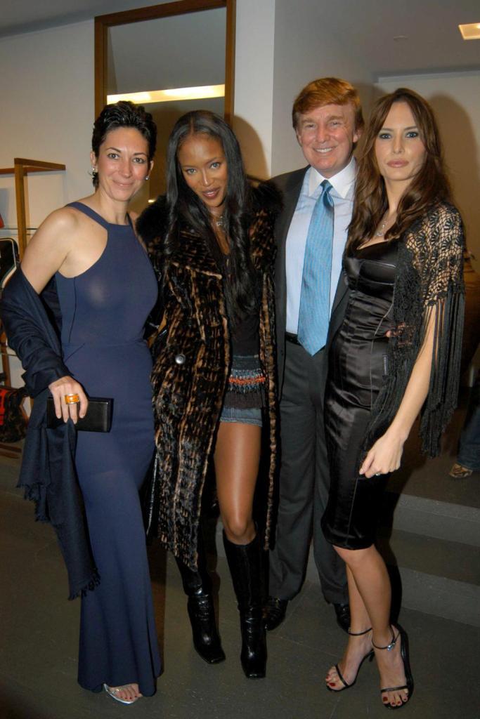 November 11, 2002  Donald Trump, Melania Trump, Ghislaine Maxwell, Naomi Campbell at store opening New York