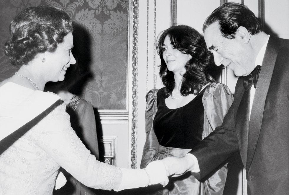 Queen Elisabeth, Robert Maxwell, Ghislaine Maxwell 1980