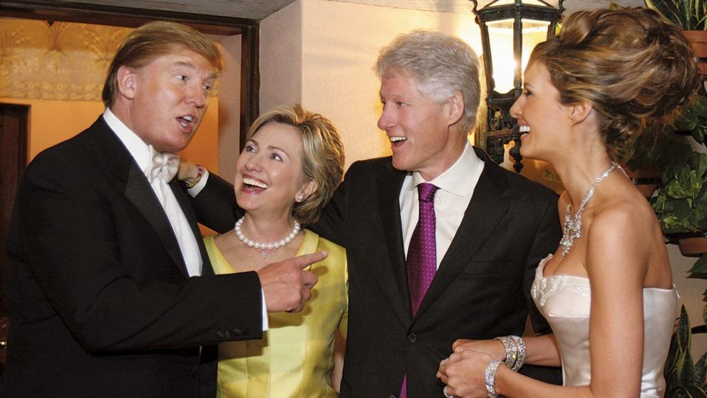 January 22, 2005. Donald Trump, Hillary Clinton, Bill Clinton, Melania Trump pictures at wedding of Donald and Melania Trump at Maralago