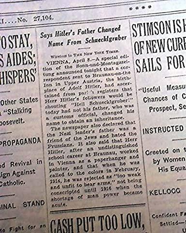 Adolph Hitler's father surnamed Schicklgruber March 12, 1932 newspaper