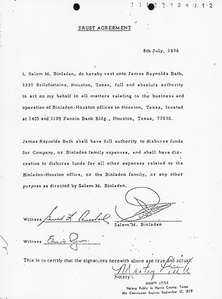 July 8, 1976.  Salem bin Laden gives James Bath power of attorney