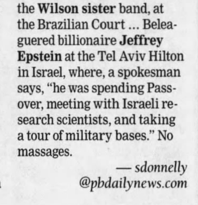 Jeffrey Epstein visits Israeli military bases and research facilities before sentencing April 27, 2008