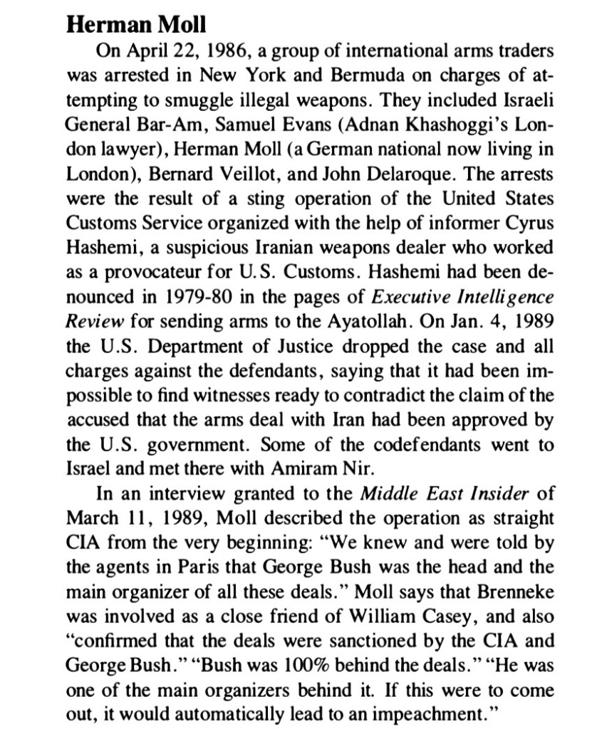 Cyrus Hashemi arms trafficking sting April 22, 1986.  George Bush was organizer of ring.  Richard Brenneke and William Casey involved.