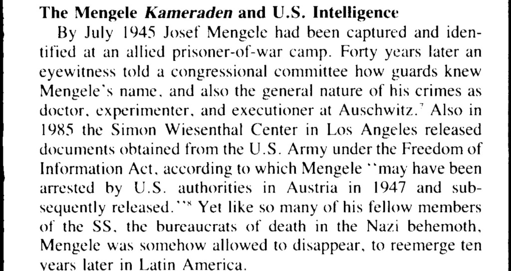 July 1945  Joseph Mengele released by the United States