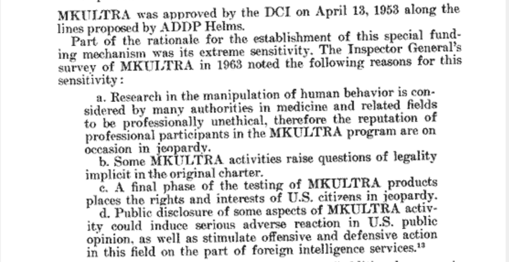 MK Ultra was approved by the DCI on April 13, 1953