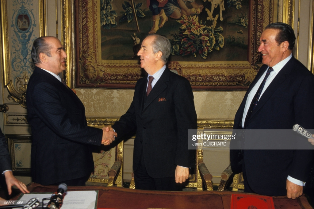 Robert Maxwell, the French Finance Minister, and Francis Bouygues, channel of a French television station TF1, $3 Billion Francs, April 16, 1987