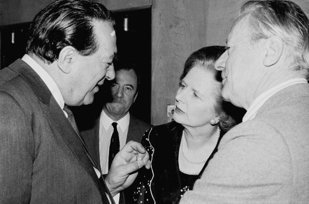 Robert Maxwell and Prime Minister Margaret Thatcher Parliament May 17, 1984