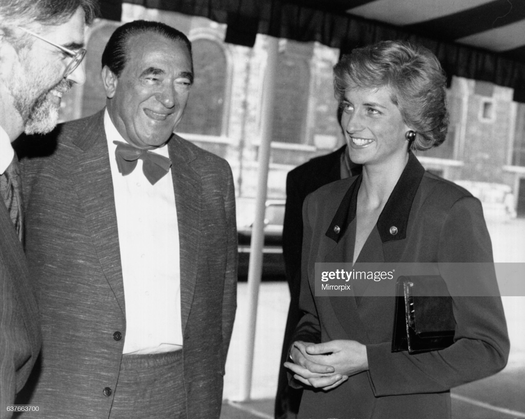 Robert Maxwell and Princess Diana in France to launch National AIDS Trust, October 3, 1988