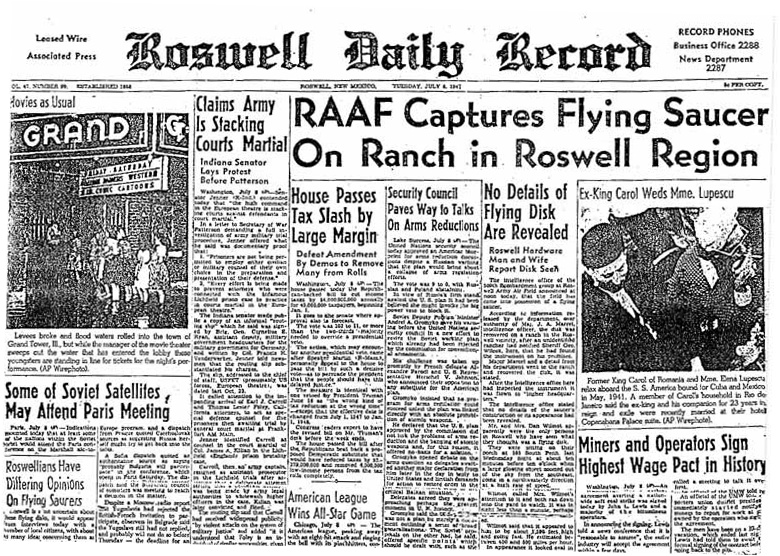 Roswell Daily Record RAAF Captures Flying Saucer On Ranch in Roswell Region July 8, 1947