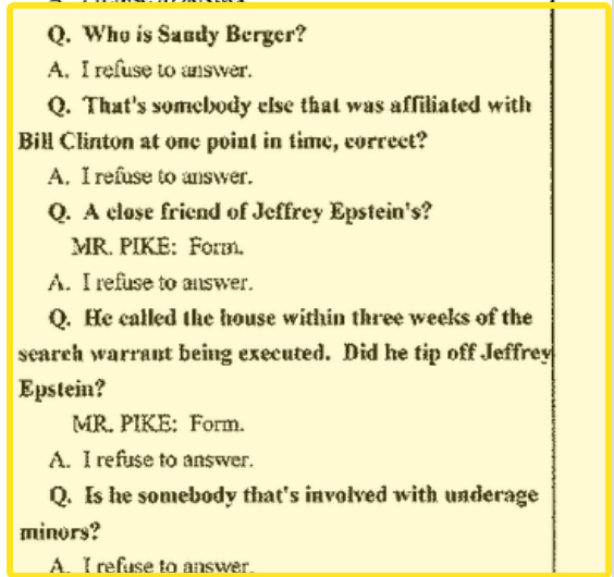 Sandy Berger tipped Jeffrey Epstein about police raid October 20, 2005