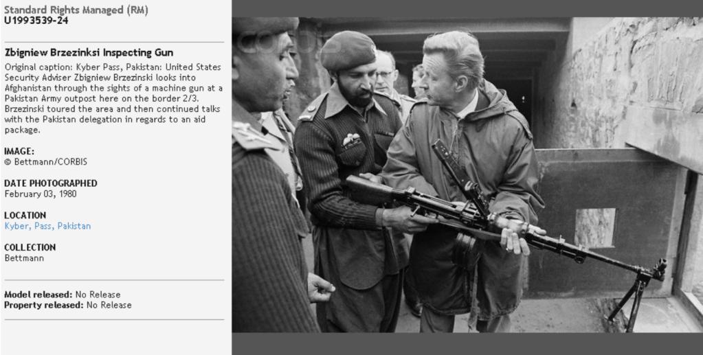 Zbigniew Brzezinski and Osama bin Laden at Khyber Pass, Pakistan, February 3, 1980