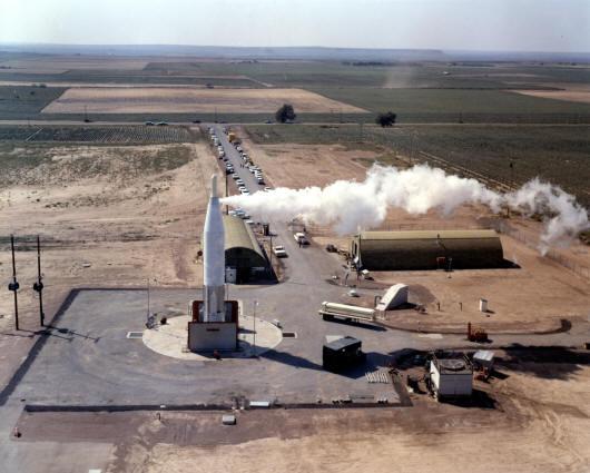 Atlas missile on launch pad, Atlas F facility
