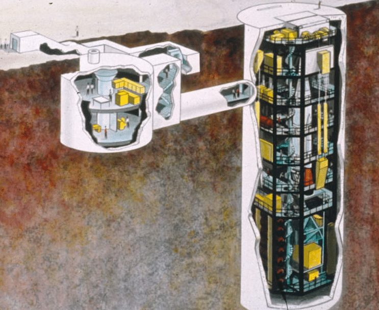 Artist drawing of underground areas of Atlas missile facility