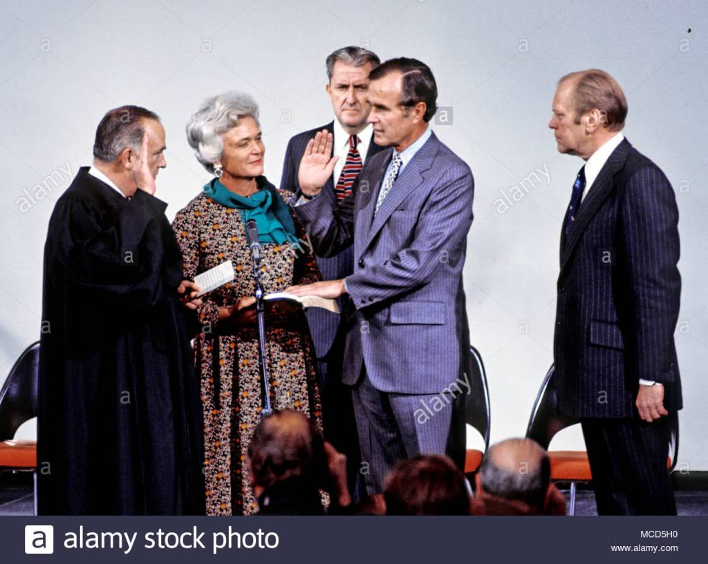 January 30, 1976. George Bush sworn in as CIA director.  Chosen by President Gerald Ford.