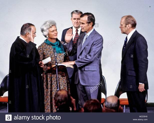 George Bush is sworn in as CIA Director January 30, 1976.