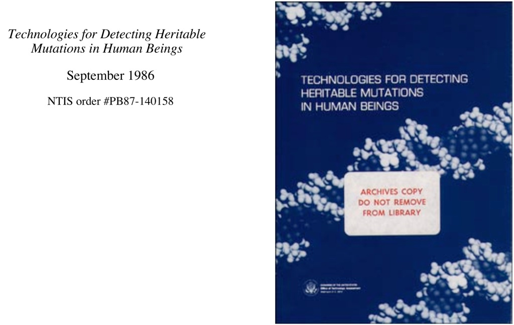 Office of Technology Assessment Technologies for Detecting Heritable Mutations in Human Beings