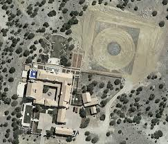 Aerial view of Atlas launch pad at Jeffrey Epstein's Zorro Ranch